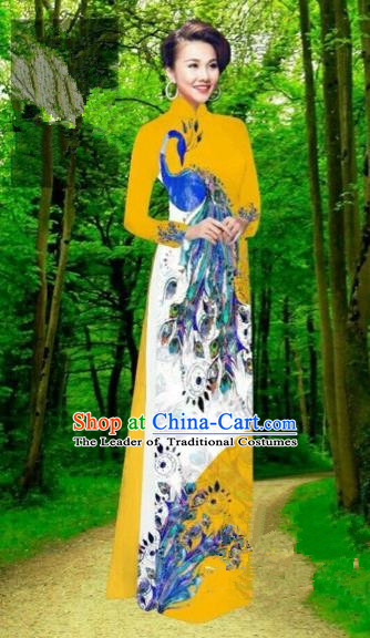 Traditional Top Grade Asian Vietnamese Costumes Dance Dress, Vietnam National Female Handmade Yellow Printing Peacock Ao Dai Dress Cheongsam Clothing for Women