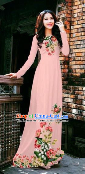 Traditional Top Grade Asian Vietnamese Costumes Dance Dress, Vietnam National Female Handmade Printing Flowers Pink Chiffon Ao Dai Dress Cheongsam Clothing for Women