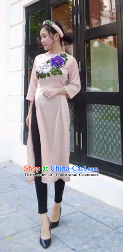 Traditional Top Grade Asian Vietnamese Costumes, Vietnam National Female Handmade Ao Dai Dress Cheongsam Purple Flowers Clothing for Women