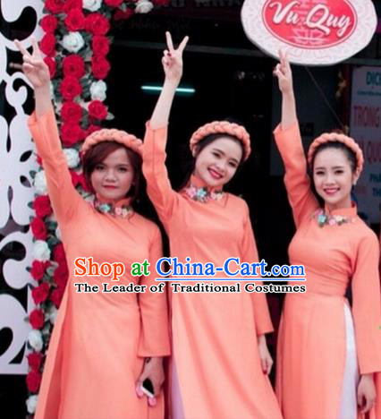 Traditional Top Grade Asian Vietnamese Costumes Dance Dress, Vietnam National Female Handmade Wedding Pink Bridesmaid Ao Dai Dress Cheongsam Clothing for Women