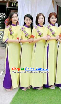 Traditional Top Grade Asian Vietnamese Costumes Dance Dress, Vietnam National Female Handmade Wedding Green Bridesmaid Ao Dai Dress Cheongsam Clothing for Women