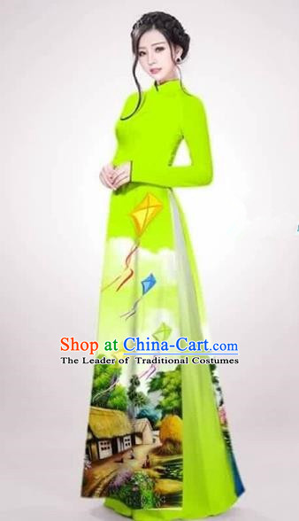 Traditional Top Grade Asian Vietnamese Costumes Dance Dress, Vietnam National Female Handmade Queen Printing Green Ao Dai Dress Cheongsam Clothing for Women