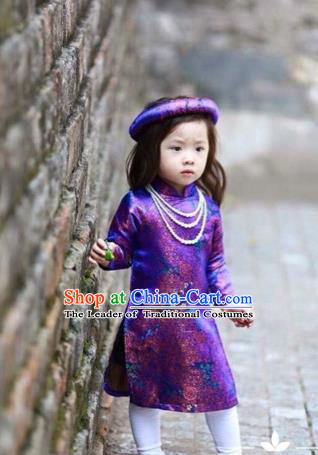Traditional Top Grade Asian Vietnamese Costumes Dance Dress, Vietnam National Children Ao Dai Dress Cheongsam Clothing for Girls