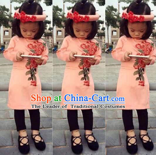 Traditional Top Grade Asian Vietnamese Costumes Dance Dress, Vietnam National Children Ao Dai Dress Embroidered Pink Cheongsam Clothing for Girls