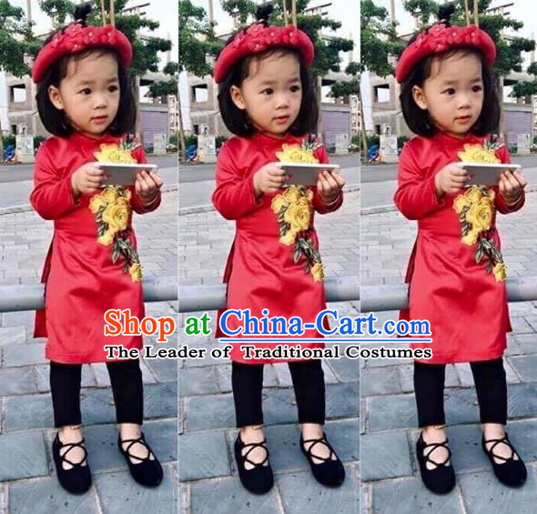 Traditional Top Grade Asian Vietnamese Costumes Dance Dress, Vietnam National Children Ao Dai Dress Embroidered Red Cheongsam Clothing for Girls