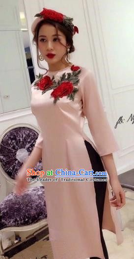 Traditional Top Grade Asian Vietnamese Costumes Dance Dress, Vietnam National Ao Dai Dress Embroidered Rose Cheongsam Clothing for Women