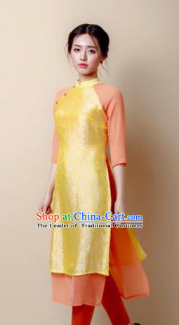 Traditional Top Grade Asian Vietnamese Costumes Dance Dress, Vietnam National Women Ao Dai Dress Golden Cheongsam Clothing