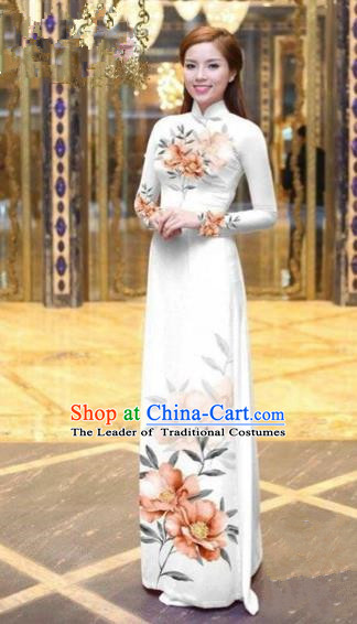 Traditional Top Grade Asian Vietnamese Costumes Dance Dress, Vietnam National Female Handmade Printing Orange Flowers Ao Dai Dress Cheongsam Clothing for Women