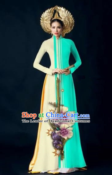 Traditional Top Grade Asian Vietnamese Costumes Dance Dress and Pants Complete Set, Vietnam National Women Ao Dai Dress Flowers Painting Blue Cheongsam Clothing