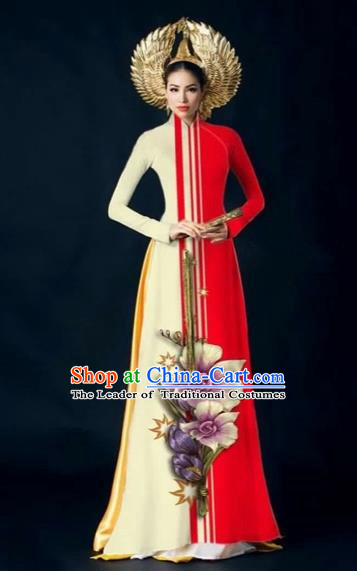 Traditional Top Grade Asian Vietnamese Costumes Dance Dress and Pants Complete Set, Vietnam National Women Ao Dai Dress Flowers Painting Red Cheongsam Clothing