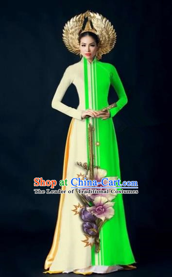 Traditional Top Grade Asian Vietnamese Costumes Dance Dress and Pants Complete Set, Vietnam National Women Ao Dai Dress Flowers Painting Green Cheongsam Clothing