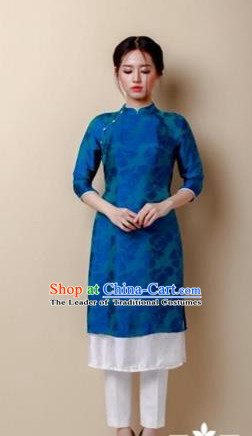 Traditional Top Grade Asian Vietnamese Costumes Dance Dress, Vietnam National Women Ao Dai Dress Blue Embroidered Short Cheongsam Clothing