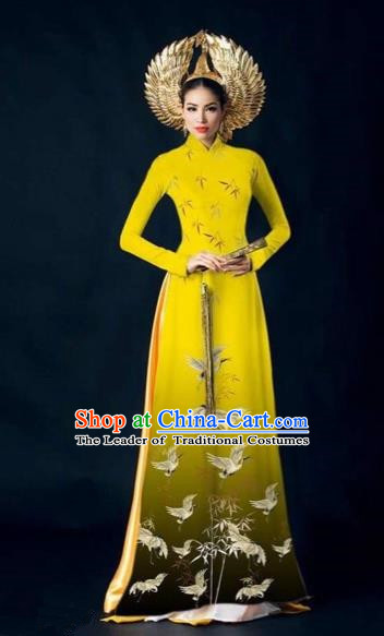 Traditional Top Grade Asian Vietnamese Costumes Dance Dress and Pants Complete Set, Vietnam National Women Ao Dai Dress Crane Painting Yellow Cheongsam Clothing