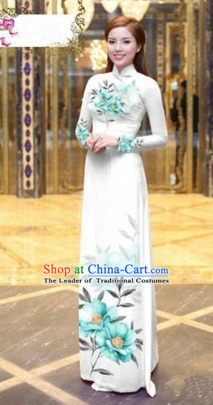 Traditional Top Grade Asian Vietnamese Costumes Dance Dress, Vietnam National Female Handmade Printing Light Blue Flowers Ao Dai Dress Cheongsam Clothing for Women