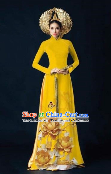 Traditional Top Grade Asian Vietnamese Costumes Dance Dress, Vietnam National Women Ao Dai Dress Printing Peony Flowers Yellow Cheongsam Clothing
