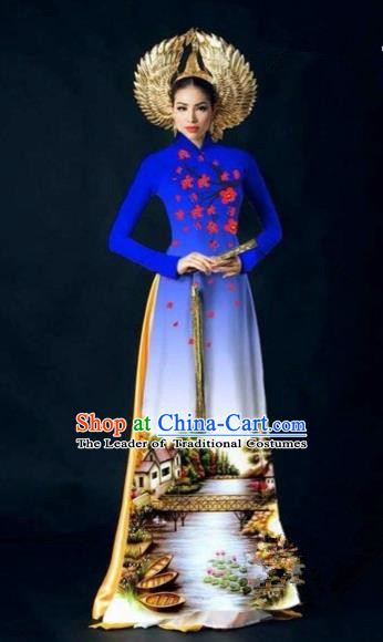 Traditional Top Grade Asian Vietnamese Costumes Dance Dress, Vietnam National Women Ao Dai Dress Printing Plum Blossom Royalblue Cheongsam Clothing