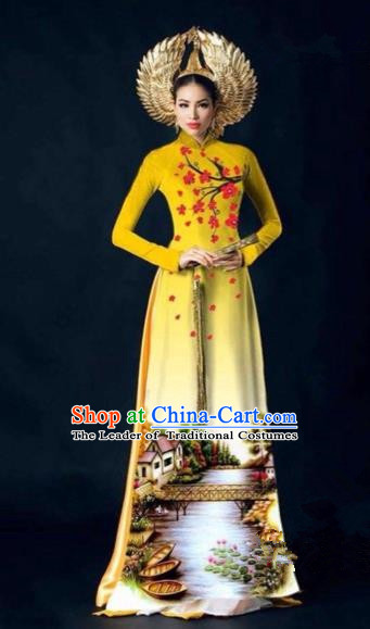 Traditional Top Grade Asian Vietnamese Costumes Dance Dress, Vietnam National Women Ao Dai Dress Printing Plum Blossom Yellow Cheongsam Clothing