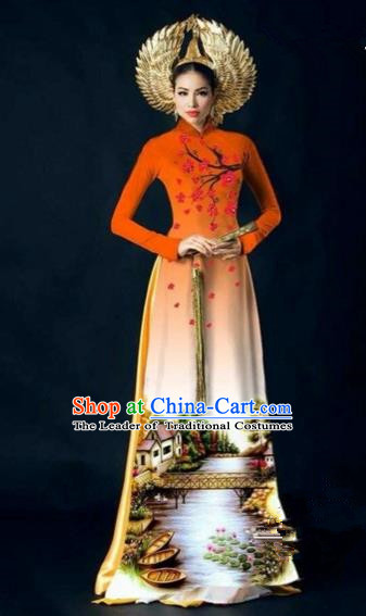 Traditional Top Grade Asian Vietnamese Costumes Dance Dress, Vietnam National Women Ao Dai Dress Printing Plum Blossom Orange Cheongsam Clothing