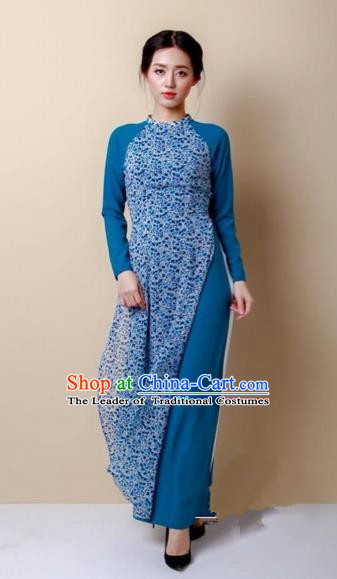 Traditional Top Grade Asian Vietnamese Costumes Dance Dress, Vietnam National Women Ao Dai Dress Blue Cheongsam Clothing