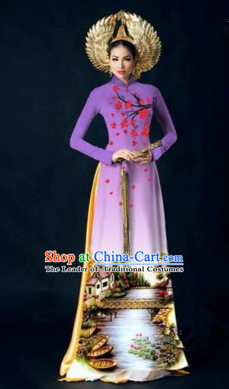 Traditional Top Grade Asian Vietnamese Costumes Dance Dress, Vietnam National Women Ao Dai Dress Printing Plum Blossom Purple Cheongsam Clothing