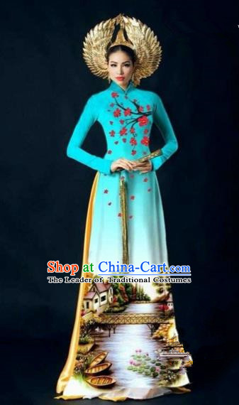 Traditional Top Grade Asian Vietnamese Costumes Dance Dress, Vietnam National Women Ao Dai Dress Printing Plum Blossom Blue Cheongsam Clothing