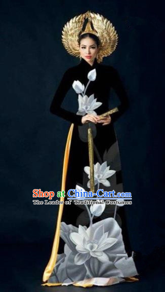 Traditional Top Grade Asian Vietnamese Costumes Dance Dress, Vietnam National Women Ao Dai Dress Ink Painting Lotus Black Cheongsam Clothing