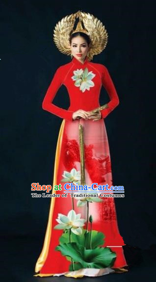 Traditional Top Grade Asian Vietnamese Costumes Dance Dress, Vietnam National Women Ao Dai Dress Ink Painting Lotus Red Cheongsam Clothing
