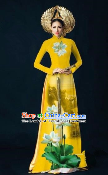 Traditional Top Grade Asian Vietnamese Costumes Dance Dress, Vietnam National Women Ao Dai Dress Ink Painting Lotus Yellow Cheongsam Clothing