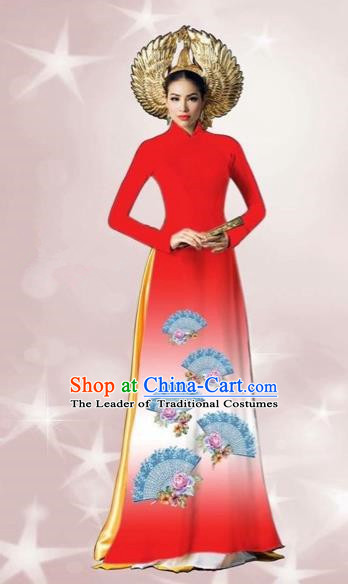 Traditional Top Grade Asian Vietnamese Costumes Dance Dress, Vietnam National Women Ao Dai Dress Printing Red Cheongsam Clothing