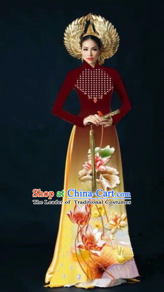 Traditional Top Grade Asian Vietnamese Costumes Dance Dress, Vietnam National Women Ao Dai Dress Ink Painting Lotus Wine Red Cheongsam Clothing
