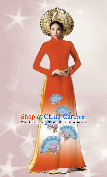 Traditional Top Grade Asian Vietnamese Costumes Dance Dress, Vietnam National Women Ao Dai Dress Printing Orange Cheongsam Clothing