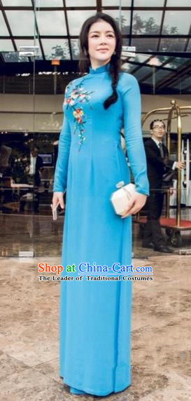 Traditional Top Grade Asian Vietnamese Costumes Full Dress, Vietnam National Women Ao Dai Dress Embroidered Blue Cheongsam Clothing