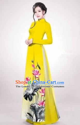 Traditional Top Grade Asian Vietnamese Costumes Dance Dress, Vietnam National Female Handmade Printing Lotus Flowers Yellow Ao Dai Dress Cheongsam Clothing for Women