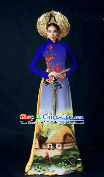 Traditional Top Grade Asian Vietnamese Costumes Dance Dress, Vietnam National Women Ao Dai Dress Landscape Painting Cheongsam Clothing