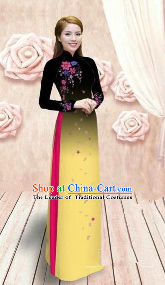 Traditional Top Grade Asian Vietnamese Costumes Dance Dress, Vietnam National Female Handmade Yellow Ao Dai Dress Cheongsam Clothing for Women