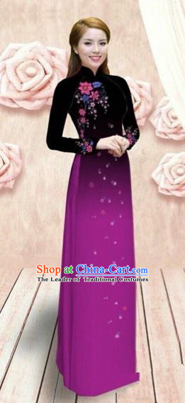 Traditional Top Grade Asian Vietnamese Costumes Dance Dress, Vietnam National Female Handmade Purple Ao Dai Dress Cheongsam Clothing for Women