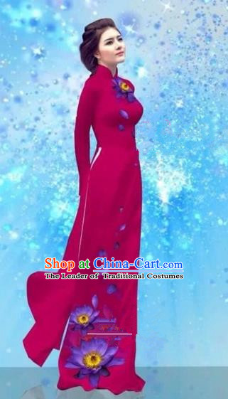 Traditional Top Grade Asian Vietnamese Costumes Dance Dress and Pants, Vietnam National Female Handmade Printing Amaranth Ao Dai Dress Cheongsam Clothing for Women
