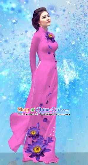 Traditional Top Grade Asian Vietnamese Costumes Dance Dress and Pants, Vietnam National Female Handmade Printing Pink Ao Dai Dress Cheongsam Clothing for Women