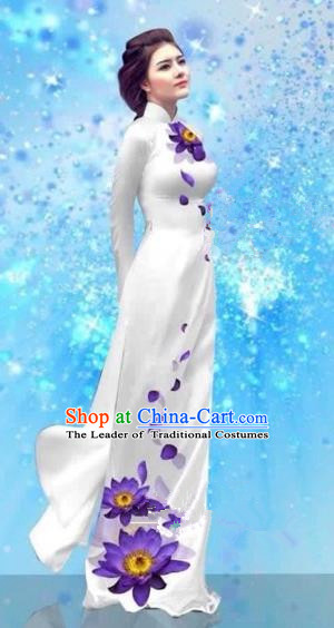 Traditional Top Grade Asian Vietnamese Costumes Dance Dress and Pants, Vietnam National Female Handmade Printing White Ao Dai Dress Cheongsam Clothing for Women