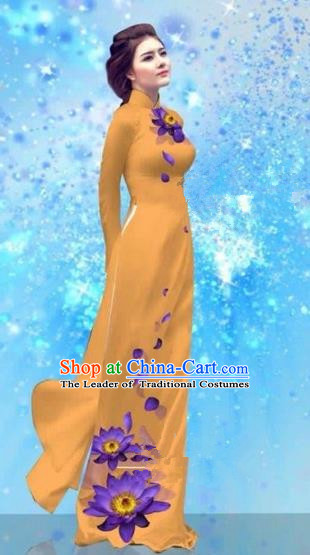 Traditional Top Grade Asian Vietnamese Costumes Dance Dress and Pants, Vietnam National Female Handmade Printing Yellow Ao Dai Dress Cheongsam Clothing for Women