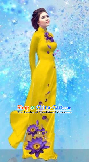 Traditional Top Grade Asian Vietnamese Costumes Dance Dress and Pants, Vietnam National Female Handmade Printing Light Yellow Ao Dai Dress Cheongsam Clothing for Women