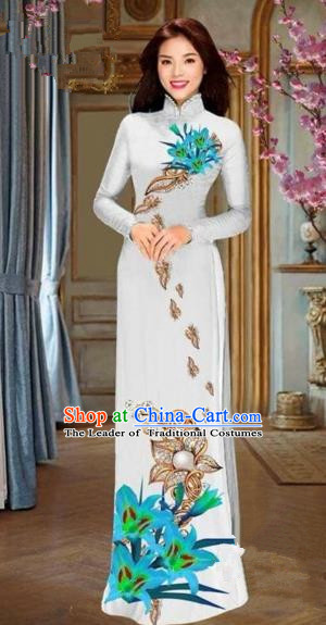 Traditional Top Grade Asian Vietnamese Costumes Dance Dress and Pants, Vietnam National Female Handmade Printing Blue Flowers Ao Dai Dress Cheongsam Clothing for Women