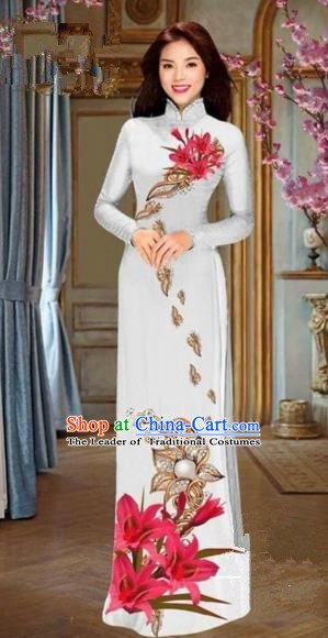 Traditional Top Grade Asian Vietnamese Costumes Dance Dress and Pants, Vietnam National Female Handmade Printing Red Flowers Ao Dai Dress Cheongsam Clothing for Women