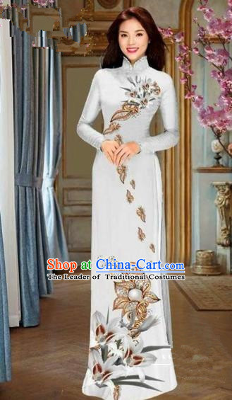 Traditional Top Grade Asian Vietnamese Costumes Dance Dress and Pants, Vietnam National Female Handmade Printing White Flowers Ao Dai Dress Cheongsam Clothing for Women