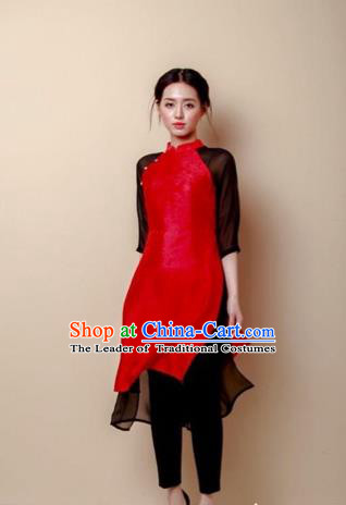 Traditional Top Grade Asian Vietnamese Costumes Dance Dress, Vietnam National Female Handmade Wedding Bride Red Ao Dai Dress Cheongsam Clothing for Women