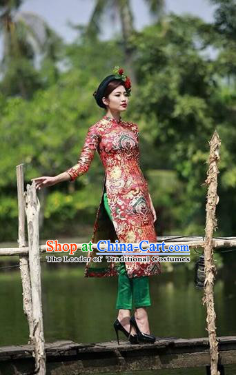 Traditional Top Grade Asian Vietnamese Costumes Dance Dress, Vietnam National Female Handmade Wedding Bride Ao Dai Dress Cheongsam Clothing for Women