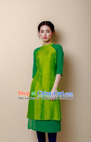 Traditional Top Grade Asian Vietnamese Costumes Dance Dress, Vietnam National Female Handmade Green Embroidered Ao Dai Dress Cheongsam Clothing for Women