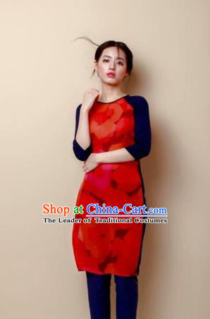 Traditional Top Grade Asian Vietnamese Costumes Dance Dress, Vietnam National Female Handmade Red Ao Dai Dress Cheongsam Clothing for Women