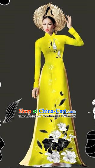 Traditional Top Grade Asian Vietnamese Costumes Dance Dress and Loose Pants, Vietnam National Female Handmade Printing Yellow Ao Dai Dress Cheongsam Clothing for Women