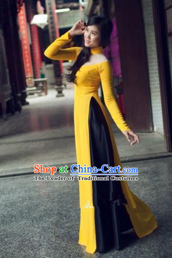 Traditional Top Grade Asian Vietnamese Costumes Dance Dress and Loose Pants, Vietnam National Female Handmade Yellow Ao Dai Dress Cheongsam Clothing for Women